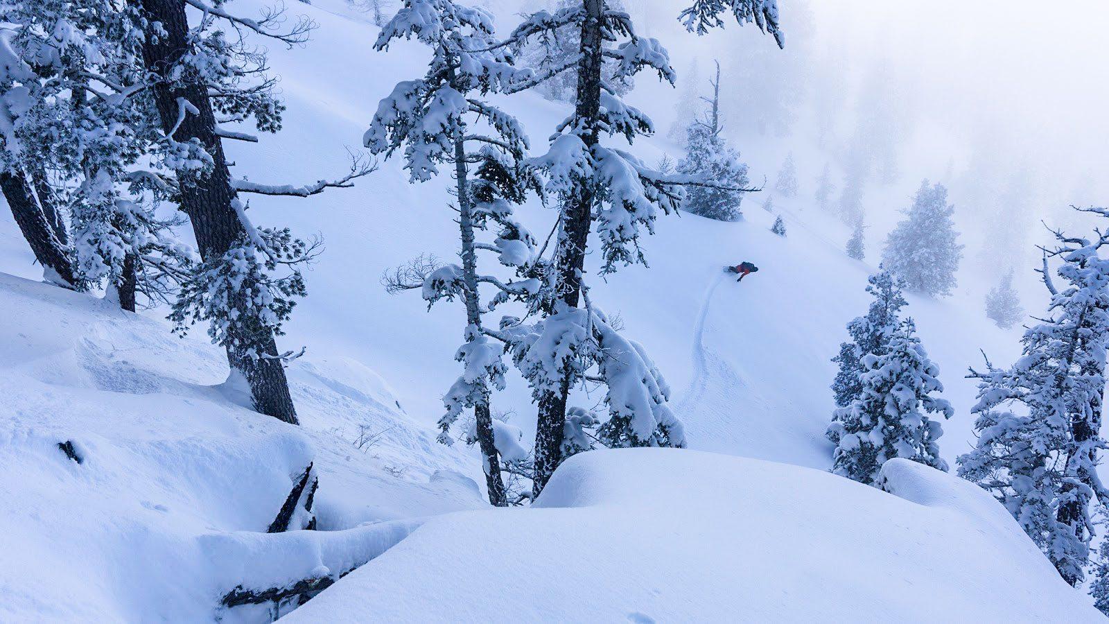snowboarder in low light