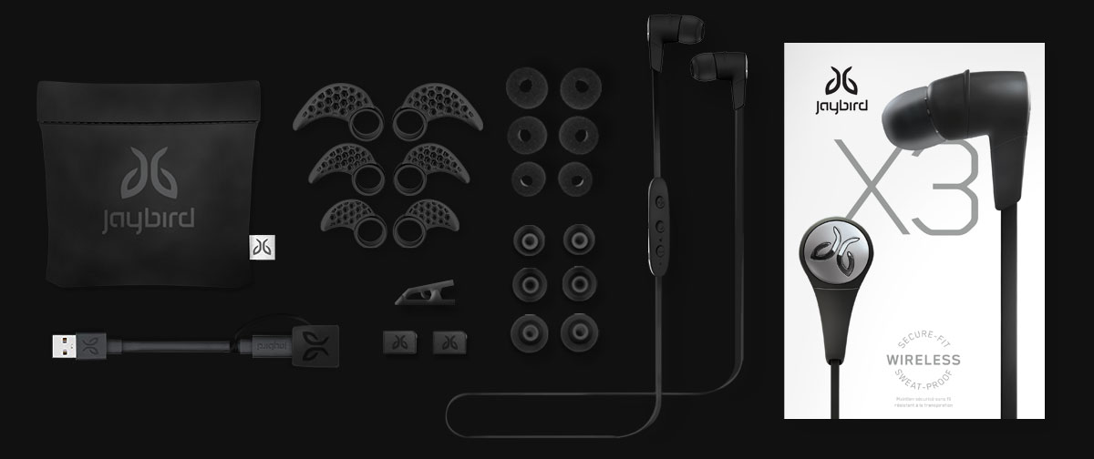 Jaybird X3 Bluetooth Earbuds in de doos